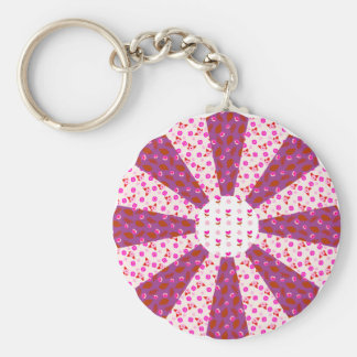 Pink Purple Ditsy Floral Patchwork Rosette Basic Round Button Keychain