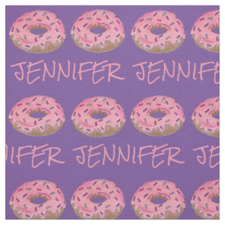 Pink Purple Donut Doughnut Donuts Name Fabric