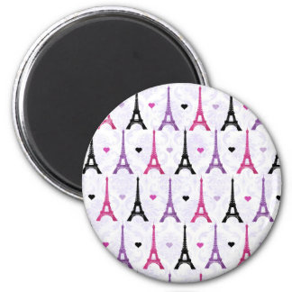 Pink & Purple Eiffel Tower pattern 2 Inch Round Magnet