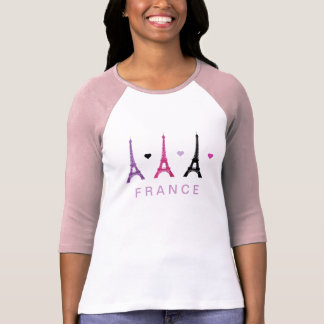 Pink & Purple Eiffel Tower pattern T Shirts