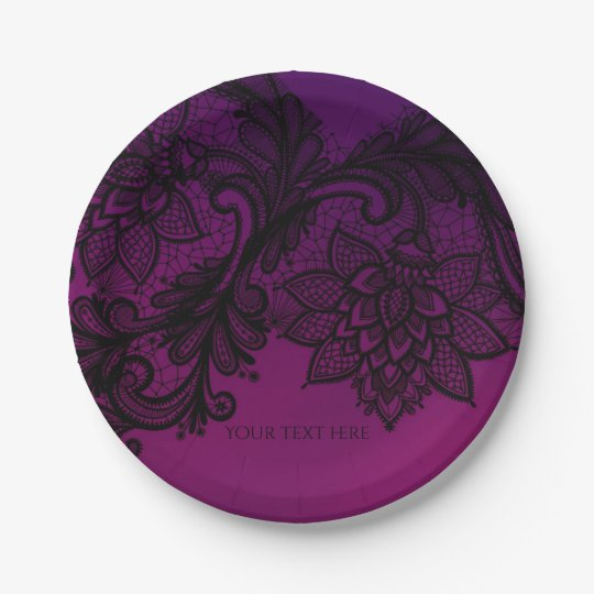 Pink & Purple Elegant Black Lace Party 7 Inch Paper Plate