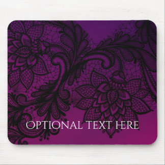 Pink & Purple Elegant Black Lace Party Invitation Mouse Pad