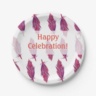 Pink Purple Feathers Happy Custom Paper Plates