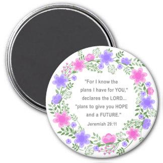 Pink & Purple Floral Jeremiah 29:11 Round Magnet