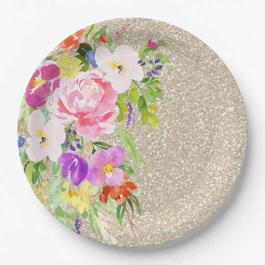 Pink Purple Floral Watercolor Gold Sparkle 9 Inch Paper Plate