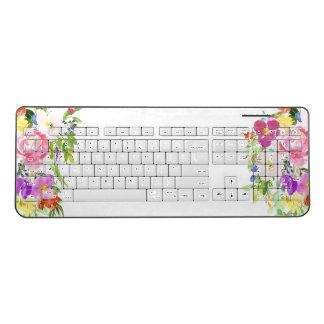 Pink Purple Floral Watercolor Wireless Keyboard