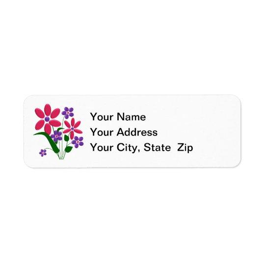 Pink / Purple Flower Bouquet Return Address Labels