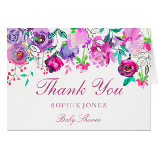 Pink Purple Flower Girl Baby Shower Thank You Card