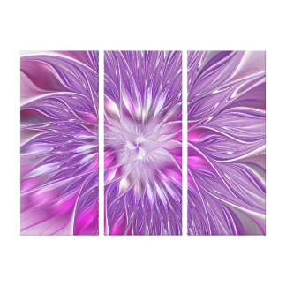 Pink Purple Flower Passion Abstract Art Triptych Canvas Print