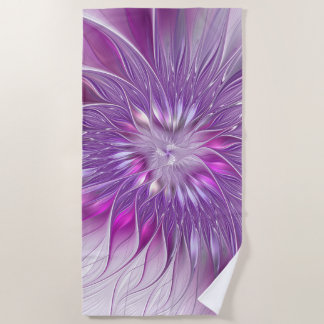 Pink Purple Flower Passion Abstract Fractal Art Beach Towel