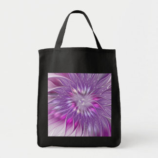 Pink Purple Flower Passion Abstract Fractal Art Tote Bag