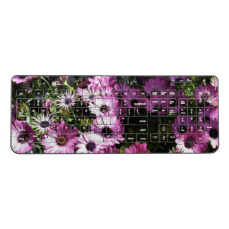 Pink Purple Flowers Wireless Keyboard