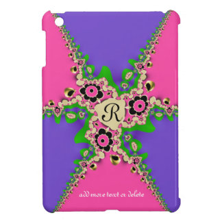 Pink Purple Fractals Monogram iPad Mini Case