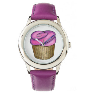 Pink Purple Frosted Frosting Cupcake Dessert Watch