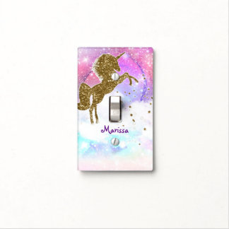 Pink Purple Galaxy Magical Unicorn Sparkle Light Switch Cover