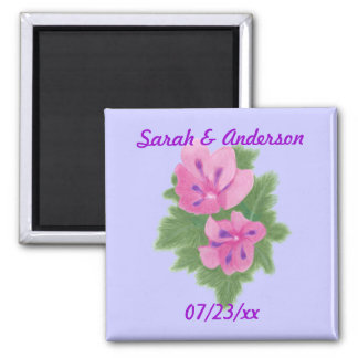 Pink Purple Geraniums Flowers Save the date Magnet