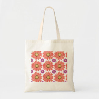 Pink Purple Gerber Daisy Flowers Floral Pattern Tote Bags