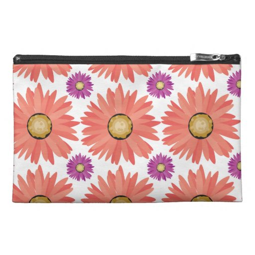 Pink Purple Gerber Daisy Flowers Floral Pattern Travel Accessories Bags