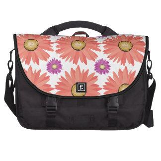 Pink Purple Gerber Daisy Flowers Floral Pattern Laptop Commuter Bag