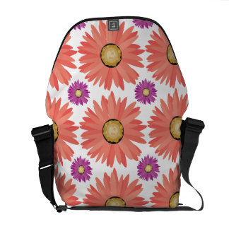 Pink Purple Gerber Daisy Flowers Floral Pattern Courier Bag