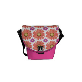 Pink Purple Gerber Daisy Flowers Floral Pattern Messenger Bags