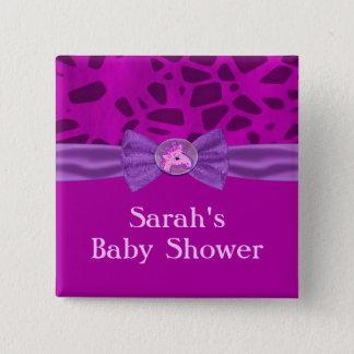 Pink & Purple Giraffe Baby Shower 2 Inch Square Button