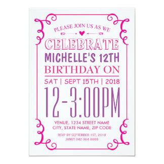 "PINK PURPLE GIRLS BIRTHDAY PARTY 5"" X 7"" INVITATION CARD"