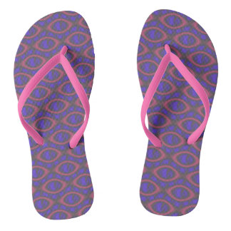 Pink Purple Girly Abstract Retro Geometric Pattern Flip Flops