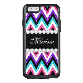 Pink Purple Glitter Aqua Blue Black White Chevrons OtterBox iPhone 6/6s Case