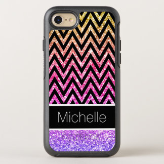 Pink Purple Glitter Gold Black Chevron Pattern OtterBox Symmetry iPhone 8/7 Case