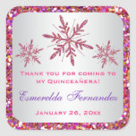 Pink, Purple Glitter LOOK Snowflakes Favour Square Sticker