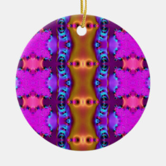 pink purple gold abstract round ceramic ornament