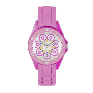 Pink, Purple, Gold on White Design on a Pink Watch