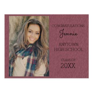 Pink / Purple Graduation Party Photo Invitation Postcard