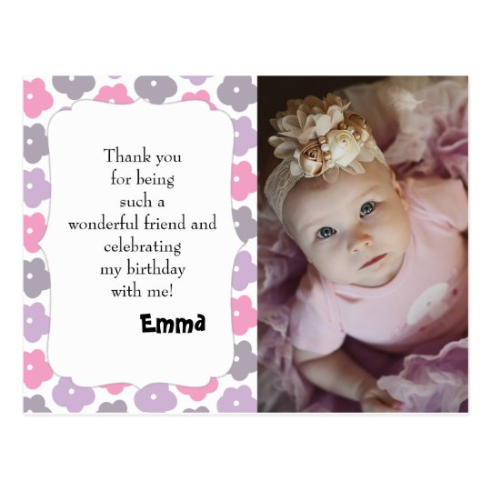 Pink Purple Grey Flowers Birthday Thank You Postcard