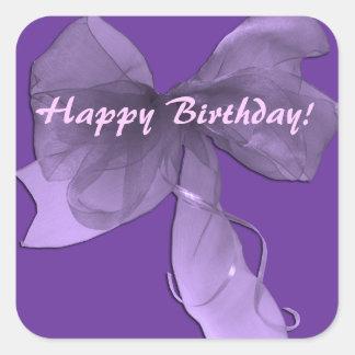 Pink Purple Happy Birthday Bow Sticker
