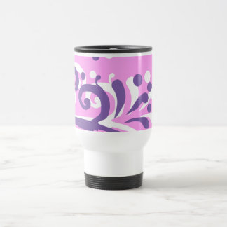 pink purple heart floral design thermo travel mug
