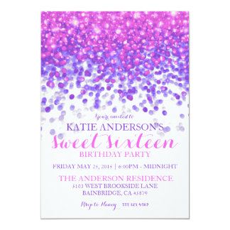 "Pink Purple Hollywood Glitter Sweet Sixteen Party 5"" X 7"" Invitation Card"