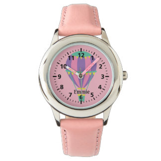 Pink Purple Hot Air Balloon Personalized Child's Watch