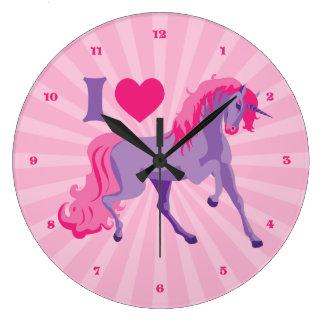 Pink & Purple I Heart Love Unicorns Wallclock