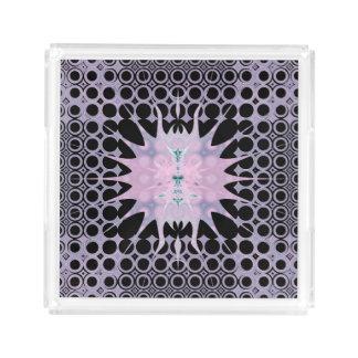 Pink Purple Lavender and Black Art Nouveau Sun Acrylic Tray