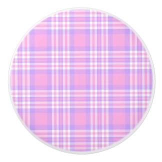 Pink Purple Lavender Plaid Gingham Check Girl Ceramic Knob