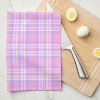 Pink Purple Lavender Plaid Gingham Check Girl Kitchen Towel