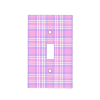 Pink Purple Lavender Plaid Gingham Check Girl Light Switch Cover