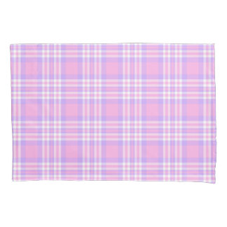 Pink Purple Lavender Plaid Gingham Check Girl Pillowcase