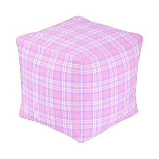 Pink Purple Lavender Plaid Gingham Check Girl Pouf