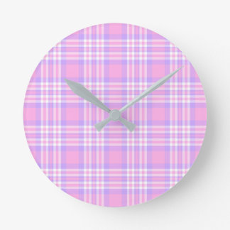 Pink Purple Lavender Plaid Gingham Check Girl Round Clock