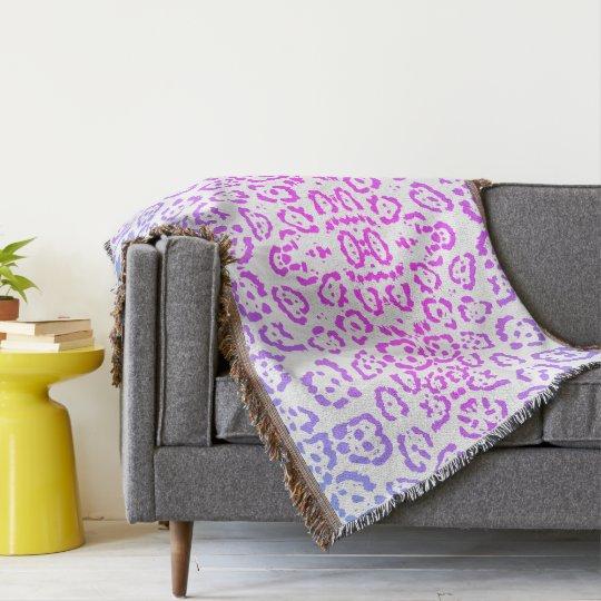 Pink Purple Leopard Cat Animal Print Throw Blanket
