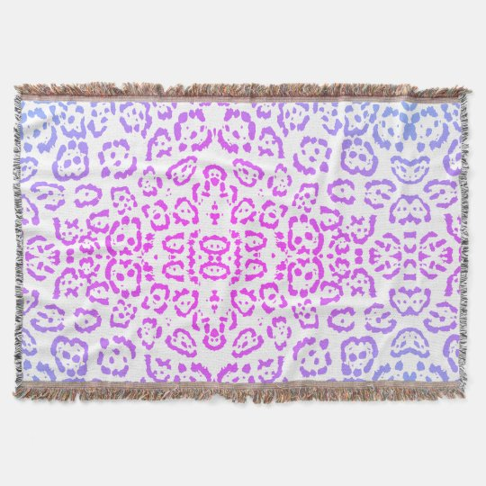 Pink Purple Leopard Cat Animal Print Throw Blanket