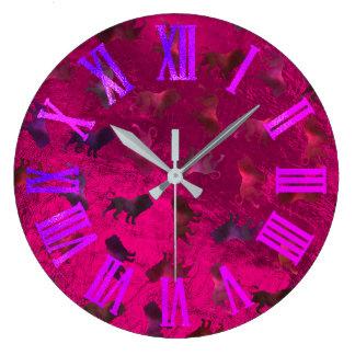 Pink Purple Lions Glass Metallic Roman Miami Large Clock
